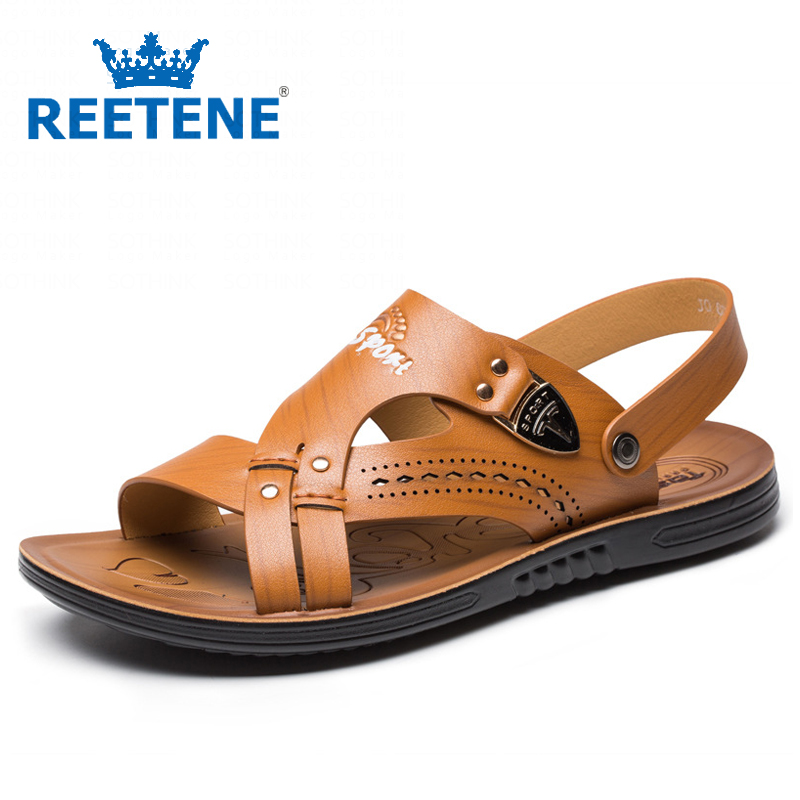 2016 Summer New Leather Mens Sandals Fashion Men Shoes Casual Slippers - REETENE store