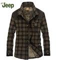 AFS JEEP A nova queda e roupas de inverno dos homens marca lapela espessamento homens quentes camisa xadrez moda camisa dos homens além de veludo camisa 146