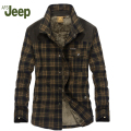 AFS JEEP The new fall and winter men's brand lapel thickening warm men shirt fashion plaid men's shirt plus velvet shirt 146