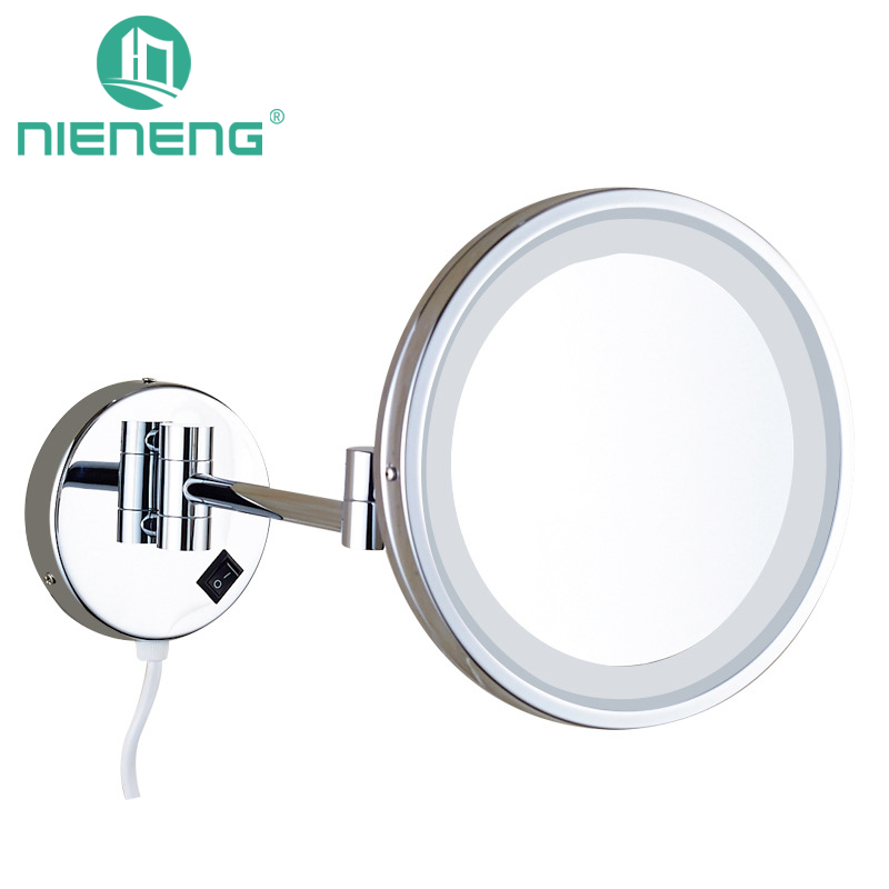 Nieneng Makeup Mirrors LED Bathroom LED Light Mirror 5X 10X Bath Mirror Make up Toilet Magnifying Mirror Accessories ICD60531 цена