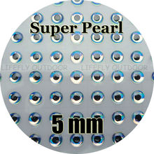 5mm Super Pearl / Wholesale 350 Soft Molded 3D Holographic Fish Eyes, Oval Pupil, Fly Tying, Jig, Lure Making 3/16