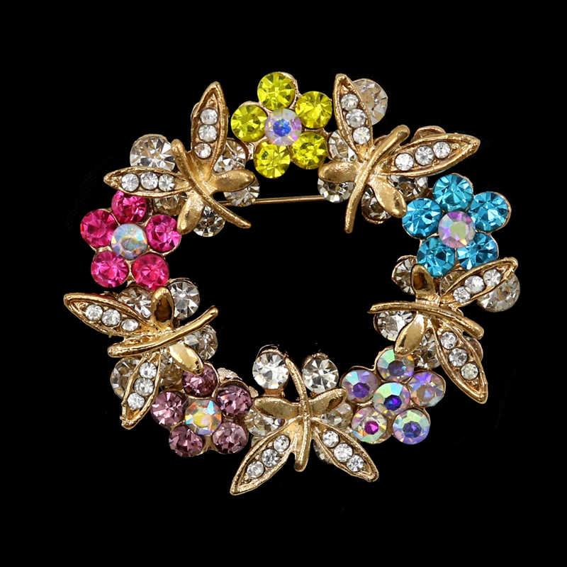 Oneckoha Colorful Rhinestone Bunga Bros Hewan Capung Pin Perhiasan Wanita Bros Pin untuk Tas, Topi, Aksesoris Pakaian
