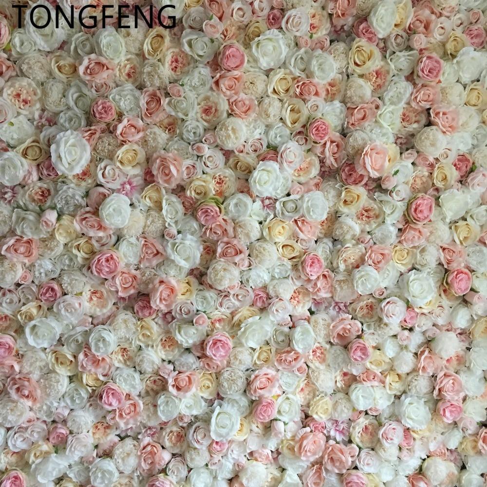 TONGFENG 10 unids/lote Mixcolor boda 3D flor pared runner boda seda Artificial Rosa peonía boda telón de fondo Decoración-in Flores artificiales y secas from Hogar y Mascotas    2
