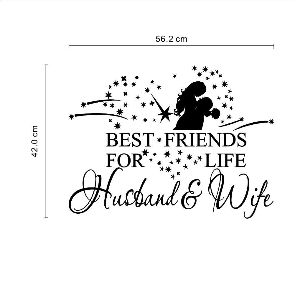 US $0.8 26% OFF|best friends for life husband and wife quotes wedding  decorations wall stickers bedroom love lettering words vinyl decals  decor-in ...