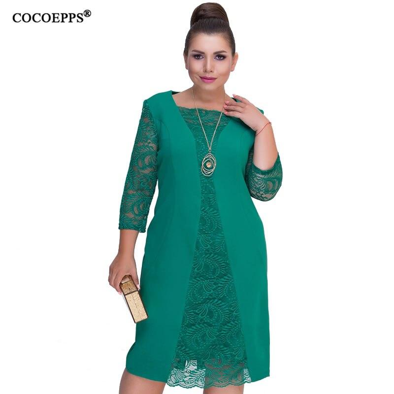 COCOEPPS 6XL vestido de las mujeres de gran tamaño de invierno otoño vestido de encaje verde Rob mujer 2019 túnicas vestido bodycon Plus tamaños grandes vestidos
