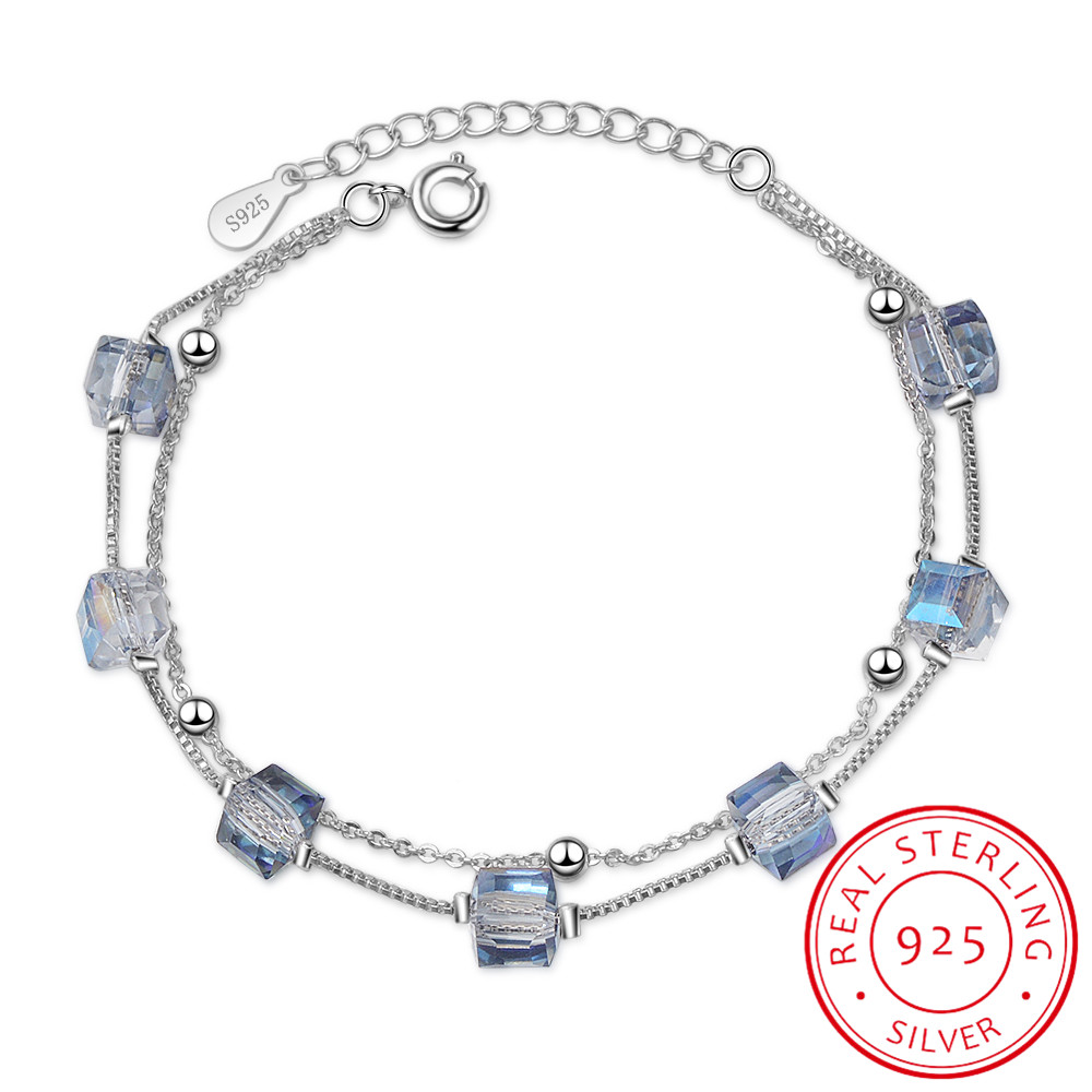 High Quality Crystals from Swarovski 925 Sterling Silver Double-layered Chain Sugar Cube Shape Charm Bracelets For FemaleHigh Quality Crystals from Swarovski 925 Sterling Silver Double-layered Chain Sugar Cube Shape Charm Bracelets For Female