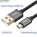 Ugreen mi4 qc2.0 micro usb cable para samsung galaxy s6 2.4a carga rápida cable para huawei p8 htc lg sony meizu mx2 3 4 línea de datos