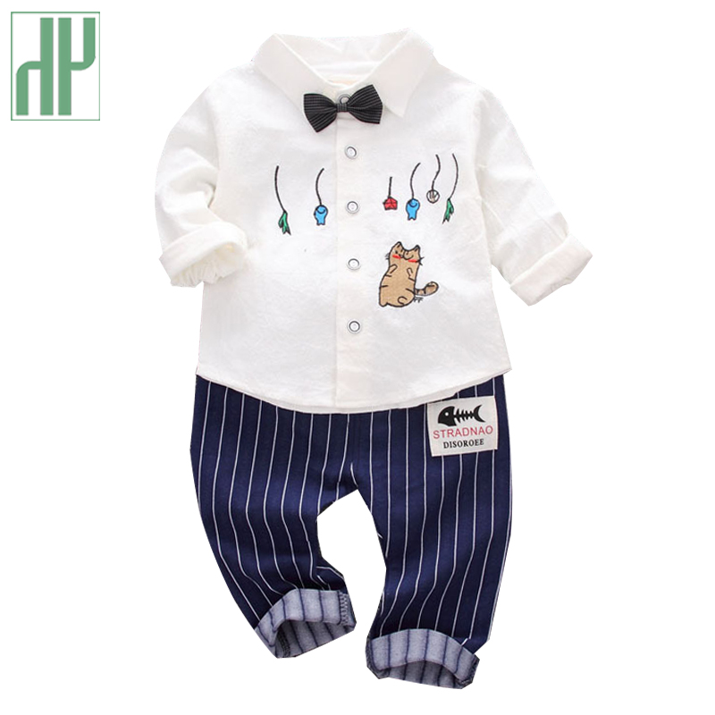 Children clothing Autumn spring Bow T-shirts + Pants toddler boys clothing set costume formal kids clothes baby wedding suits 2018 spring clothing set newborn baby boy 1 year birthday party costume toddler boys fashion outerwear children s clothes suit