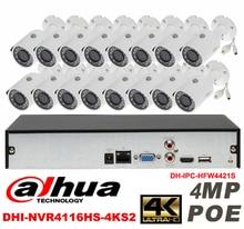 Dahua original 16CH 4MP H2.64 DH-IPC-HFW4421S 16pcs bullet Waterproof camera POE DAHUA DHI-NVR4116HS-4KS2 IP security camera kit