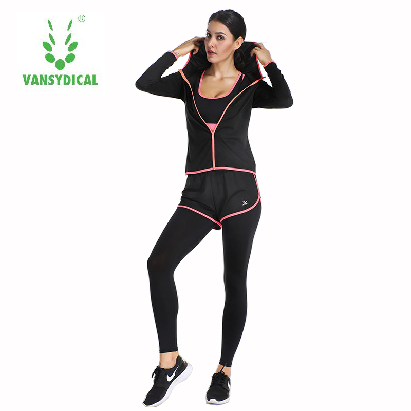 VANSYDICAL новый спортивный Одежда для бега Для женщин спортивный костюм тренажерный зал Фитнес Йога одежда 6 шт./компл. ...