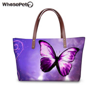 WHOSEPET Women's Handbags Butterfly 3D Print Shoulder Bag for Shopping Ladies Purse and Tote Bag Large Top handle Bags Feminina