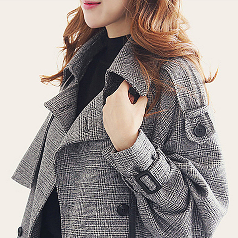 women's   trench   coat windbreaker casual Houndstooth pattern with belt button decoration long ladies coats Ladies' windbreaker