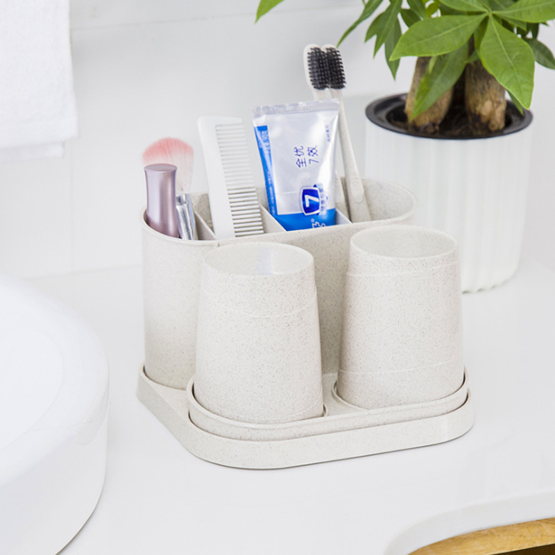 Bathroom:  1 set of straw toothbrush holder environmental protection durable double cup wash suit toothpaste storage home bathroom products - Martin's & Co