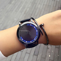 1pc personality smart leather minimalist waterproof LED watch intelligent lovers women men Quartz Wristwatches unisex cute H4