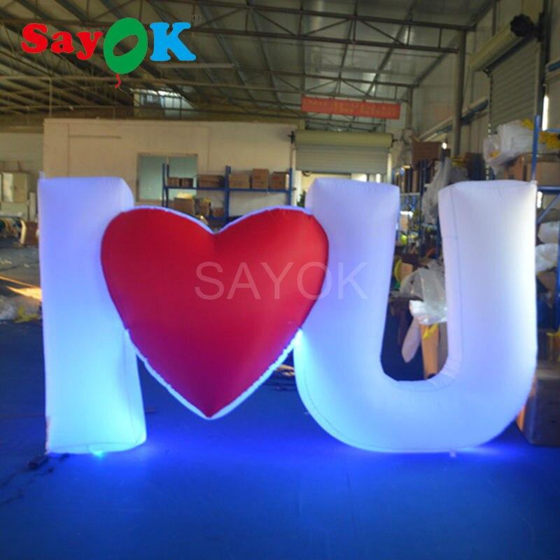 Sayok романтическая гигантская надувная любовное письмо светодиодный толстовка с принтом Буквы , для вечерние украшение для сцены на мероприятии ко Дню Святого Валентина