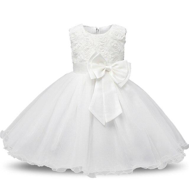 יילוד טבילת שמלה לתינוקת לבן ראשון מסיבת יום הולדת ללבוש 3D עלה פרח פעוט ילדה הטבלה שמלת Vestidos