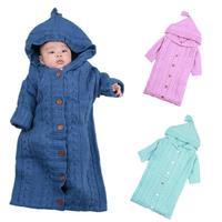 Baby deken Envelop voor pasgeborenen Hooded Inbakeren Wrap Warme Wol Haak Gebreide Pasgeboren Baby Slaapzak baby beddengoed