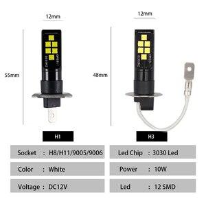 Image 3 - 2PCS H3 H1 Auto Nebel Led lampen 3030 12 LED Canbus Lampe DRL Auto Fahren Laufen Lampe Auto leds Lampe Weiß 12V