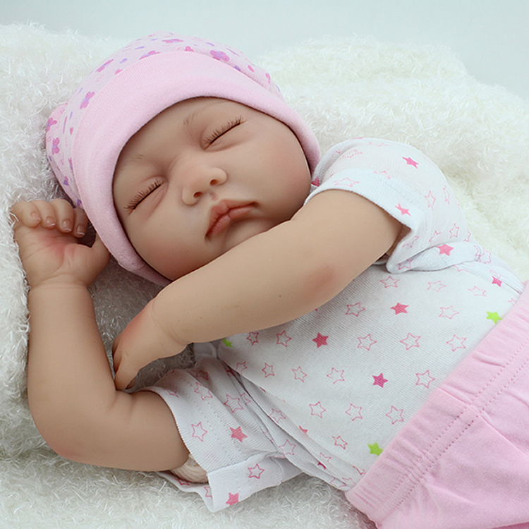 55cm Silicone Reborn Babies Dolls Closed Eyes Sleeping