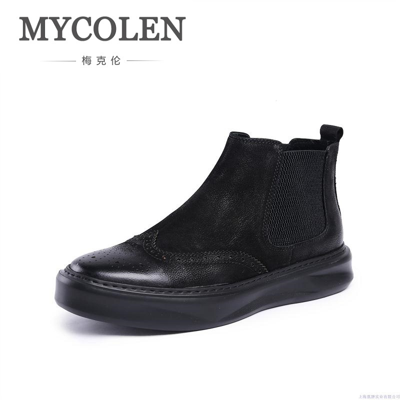 MYCOLEN Men Ankle Boots Fashion Spring/Autumn Footwear Genuine Leather Mens Boots Lace Up Casual New Brogue Shoes Men Botas fashion pleated leather mens casual shoes spring autumn new high top men shoes ankle mens sneakers zipper casual footwear