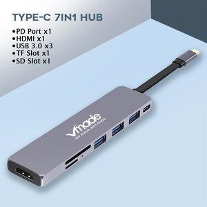 Image 2 - USB 3.0 Tip C Hub 4k hdmi adaptörü 7 in 1 Thunderbolt 3 USB C Hub USB3.0 TF USB kart okuyucu PD yuvası MacBook Pro/Hava 2018