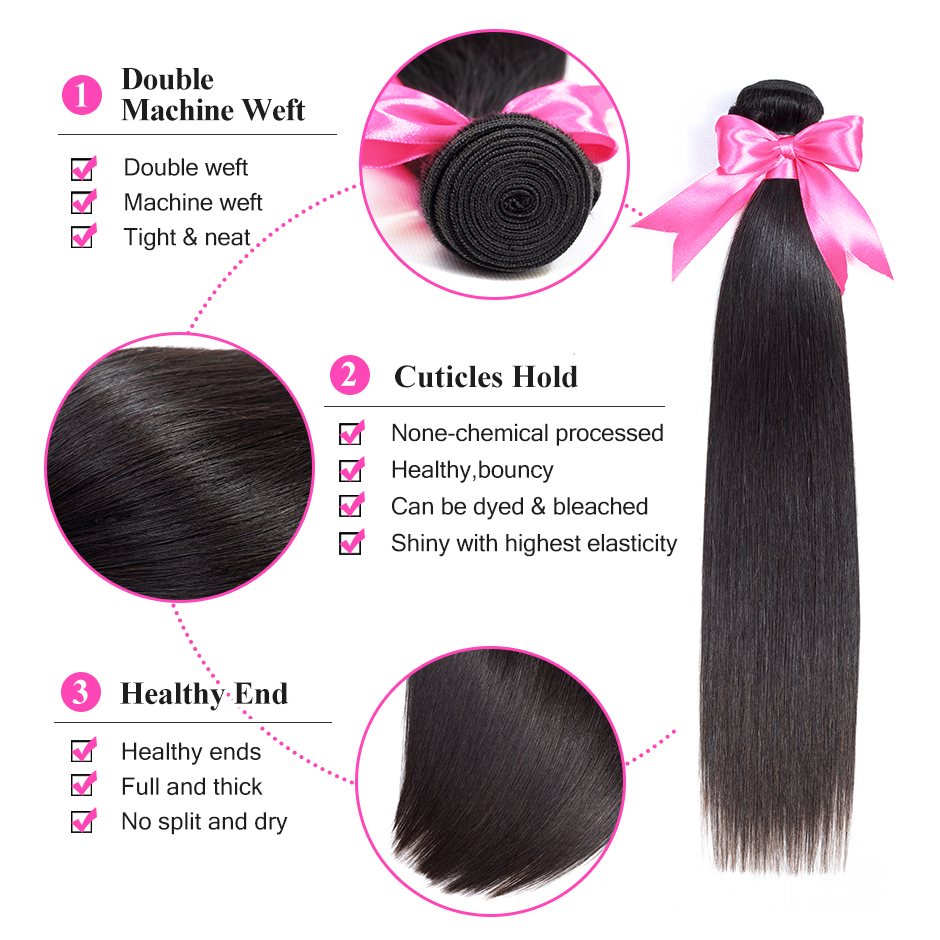 Image 2 - ISEE HAIR Brazilian Straight Hair Extensions 100% Remy Hair Weave Bundles Nature Color 3 Bundles Human Hair Bundles Nature Color-in 3/4 Bundles from Hair Extensions & Wigs