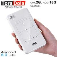 Тора Дола D7, сенсорный Управление мини проектор (2 г + 16 г дополнительно). Портативный проектор на базе Android с тачпадом, WI FI, 5000 мАч. 4 К, 1080 P