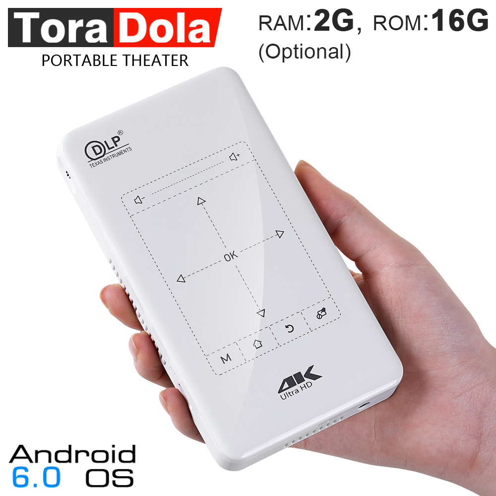 TORA DOLA D7, Touch Control MINI Projecteur (2g + 16g En Option). Portable Android Projecteur avec Touchpad, WIFI, 5000 mah. 4 k, 1080 p