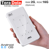 TORA DOLA D7, Touch Control MINI Projector (2G+16G Optional). Portable Android Projector with Touchpad,WIFI,5000mAH. 4K, 1080P