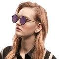 Óculos De Sol Dos Homens Das Mulheres à moda Rodada Dupla Pontes Revestimento da Lente Do Espelho Reflexivo Tinted Lens Eyewear Das Senhoras Rosa Roxo