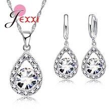 Patico элегантный Дизайн полые 925 Sterlling серебро, кубического циркония камень капли воды кулон Цепочки и ожерелья Серьги для Для женщин Bijoux