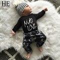 ÉL Hola Disfrutar de ropa de niño del bebé 2016 otoño ropa de bebé muchachas de la ropa de recién nacido Cartas Mameluco + Los Pantalones del bebé kleding