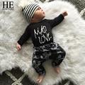 HE Hello Enjoy baby boy clothes 2016 autumn baby clothes girls clothing set newborn Letters Romper + Pants baby boy kleding