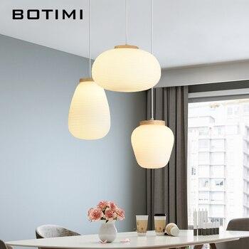 BOTIMI Moderne E27 Pendentif LED Lumière Avec Abat-jour En Verre Elliptique Pour Manger Moderne En Bois Laiteux Blanc Suspension