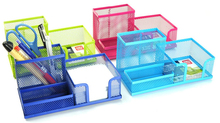 Square Net Penholder Desk Storage Box Container Pencil Holders Stand Stationary Office Comestic Organizer