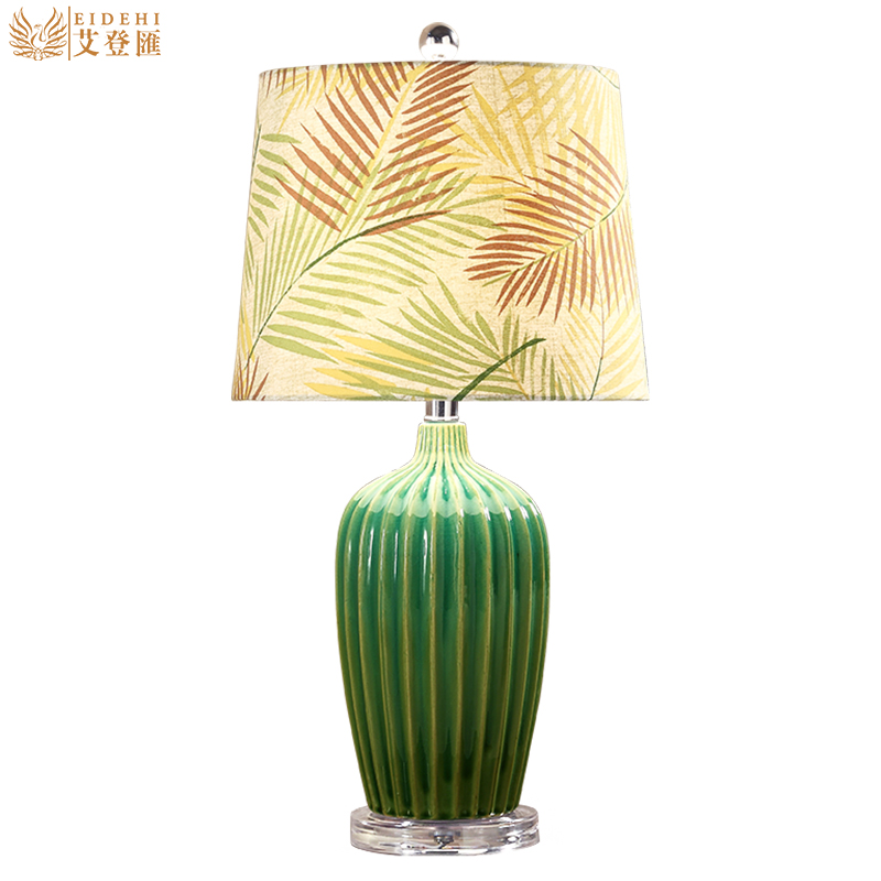 Американский кантри сельских зеленый Керамика Ткань LED E27 Настольная лампа для Гостиная Спальня исследование H 60 см 1423