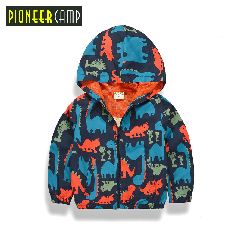 Pioneer Kids New Arrival 2017 Baby Boy 90-140cm Spring Jackets Outerwear Dinosaur Hooded Softshell Jacket For Boys Kids Coat