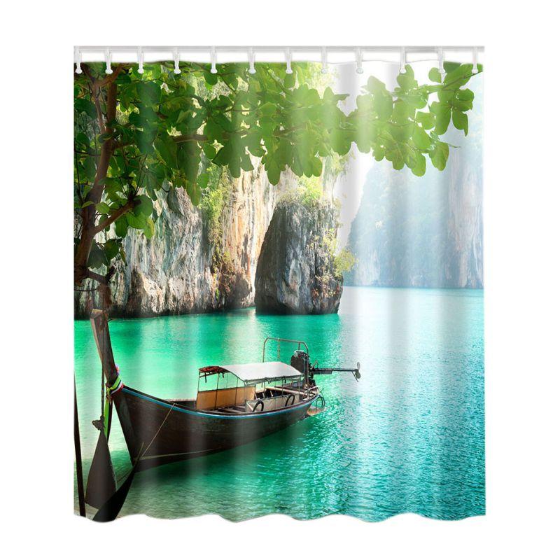 Bambus Wald/Bunte Baum/Deer/Schiff/Stein Wasserdicht Duschvorhang Bad Kreative Polyester Bad Vorhang