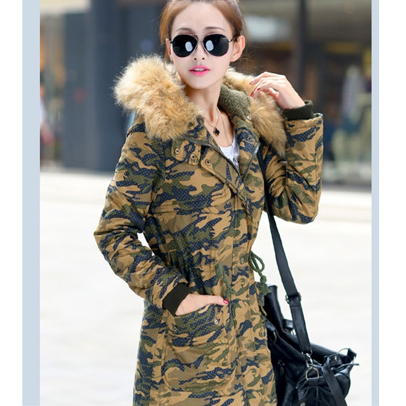 Ouatée Capuchon Col Fourrure D'hiver À Des Dames army camouflage De Mince Moyen Nouvelle Veste Parka Grand Yellow Femmes Khaki Manteau red Vêtements Green blue black camouflage 2017 Mode Green Long Manteaux Hxw0xqP