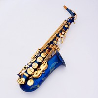 French Lehmann E flat alto saxophone musical instrument saxophone gold sky blue and mouthpiece accessories