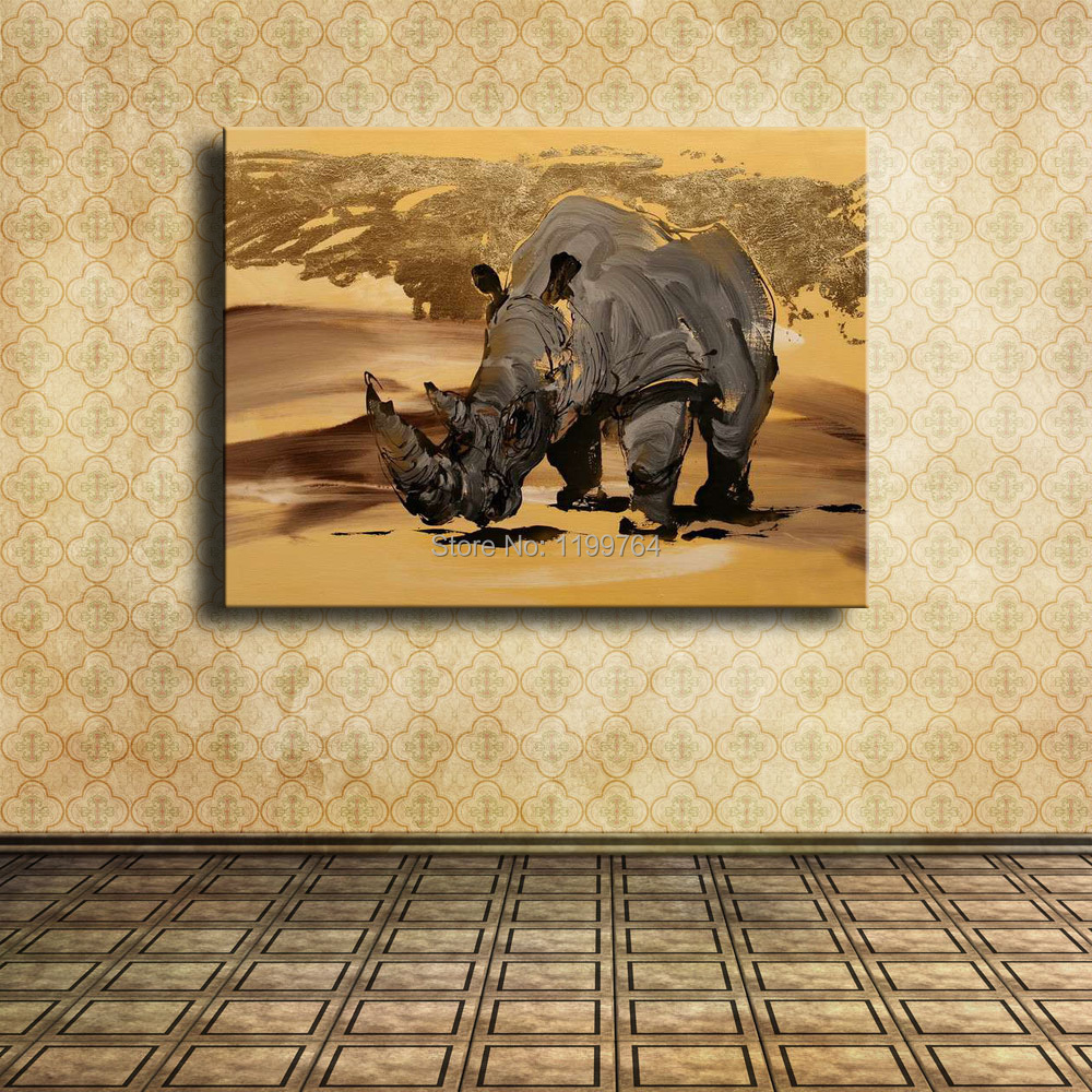 Hand Painted Simple Animal Oil Paintings on Canvas for Home Decoration Loving Animal and Protecting Animal