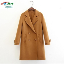 JQNZHNL 2017 New Women Woolen Jackets Outerwear High-end Double Side Cashmere Coats Double Breasted Casual Woolen Overcoats E501