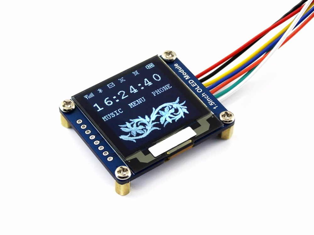 1.5inch <font><b>OLED</b></font> Display Module <font><b>SSD1327</b></font> 128x128 16-bit grey level SPI/I2C interface with examples for Raspberry Pi/STM32 image