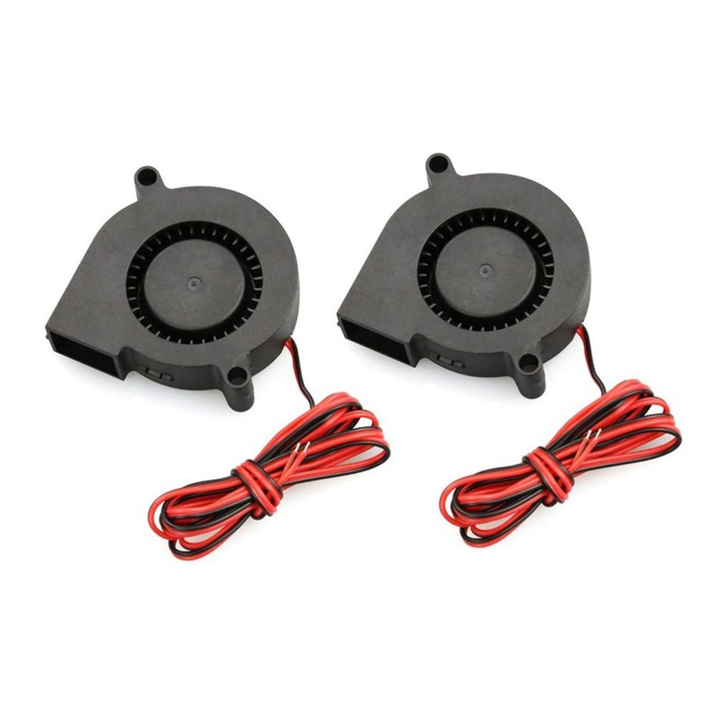 2Pcs DC 12V Mini 3D Printer Cooling Fan Parts 5015 Radial Turbo Blower Cooling Fan For 3D Printer