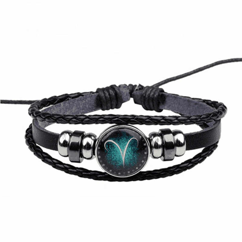 New Sale Fashion 12 Constellation Bracelet Hand-woven Leather with Beads Bangle Bracelets For Women Men Jewelry Accessories Gift
