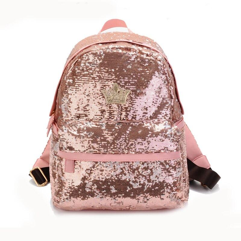 Women's Crown Canvas Backpacks Girl Student School Travel Bag Bag Paillette Bling Bag Pink
