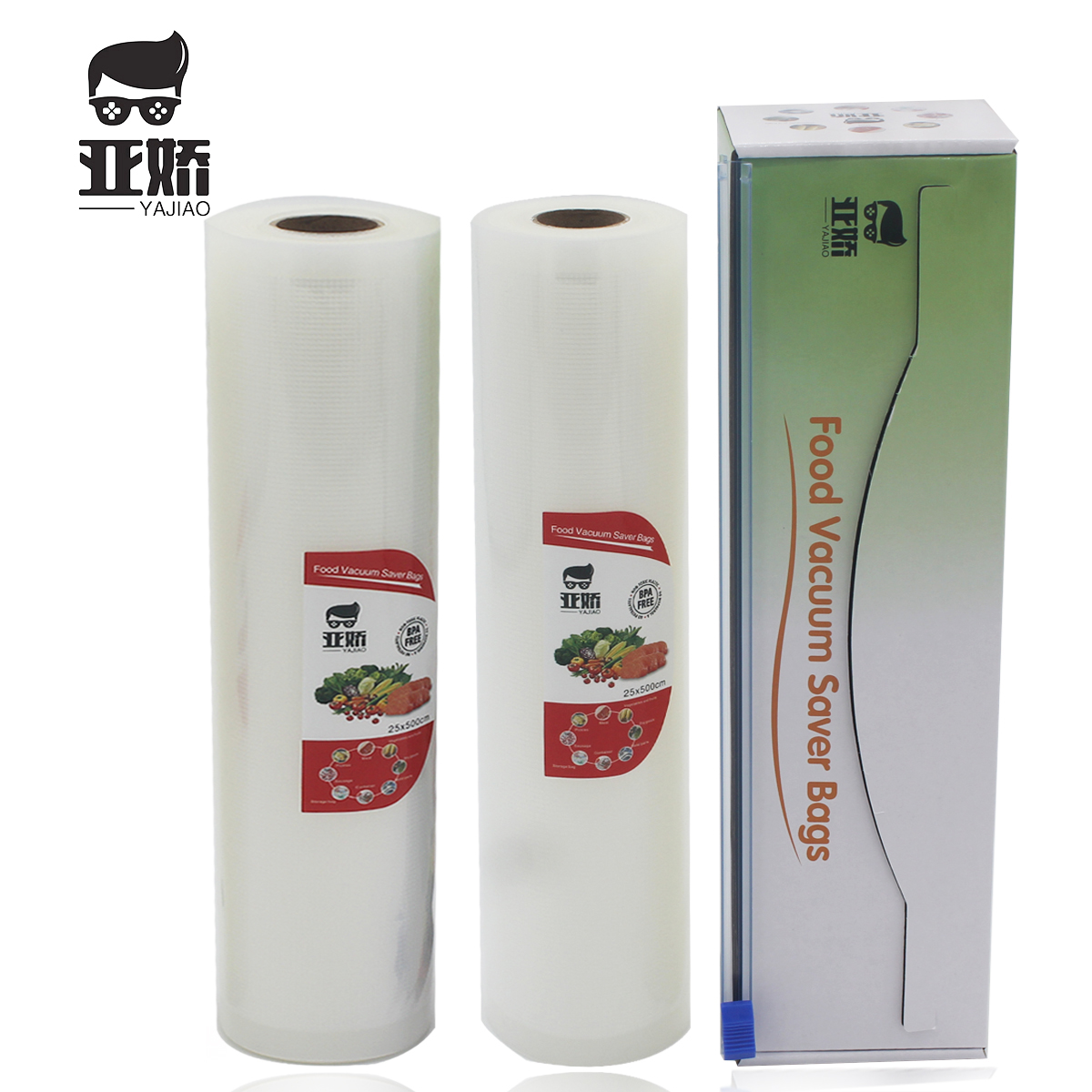 YAJIAO 2rolls 25*500cm Vacuum Sealer Bag With Cutting Knife Box For Vacuum Sealer Food Fresh Kitchen Long Keeping Storage Bag