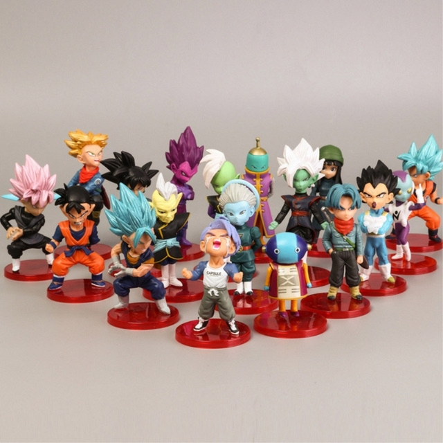 Amina 18 Pcs Pvc Figma Mini Dragon Ball Z GOKU FRIEZA de Ouro GRANDE VEGETA Zamasu MACACO Vinil Figura de Ação Collectible modelo de Brinquedo