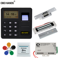 OBO HANDS Biometric Fingerprint Access Control Kit RFID Reader Door Lock System + Electric Magnetic/Bolt/Strike Lock Gate Opener
