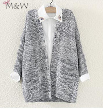 2016 spring new Korean female knit cardigan sweater coat grey brim bat sense lazy female wholesale